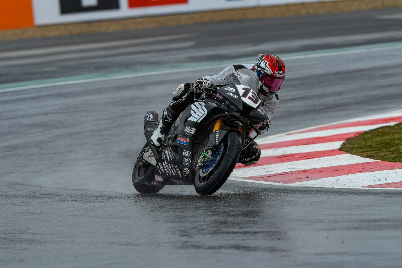 MIE Racing Honda tackles a wet race 1 at Magny-Cours