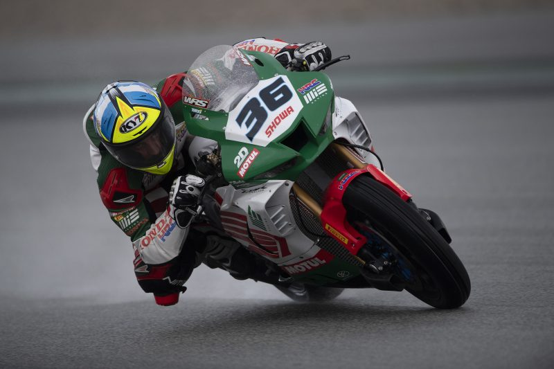 Mercado in the points zone in a wet race 1 at Catalunya